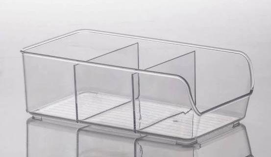 Organizador Multiuso Acrílico 3 Divisórias, ideal para organizar freezer, geladeira e armários 28x14cm