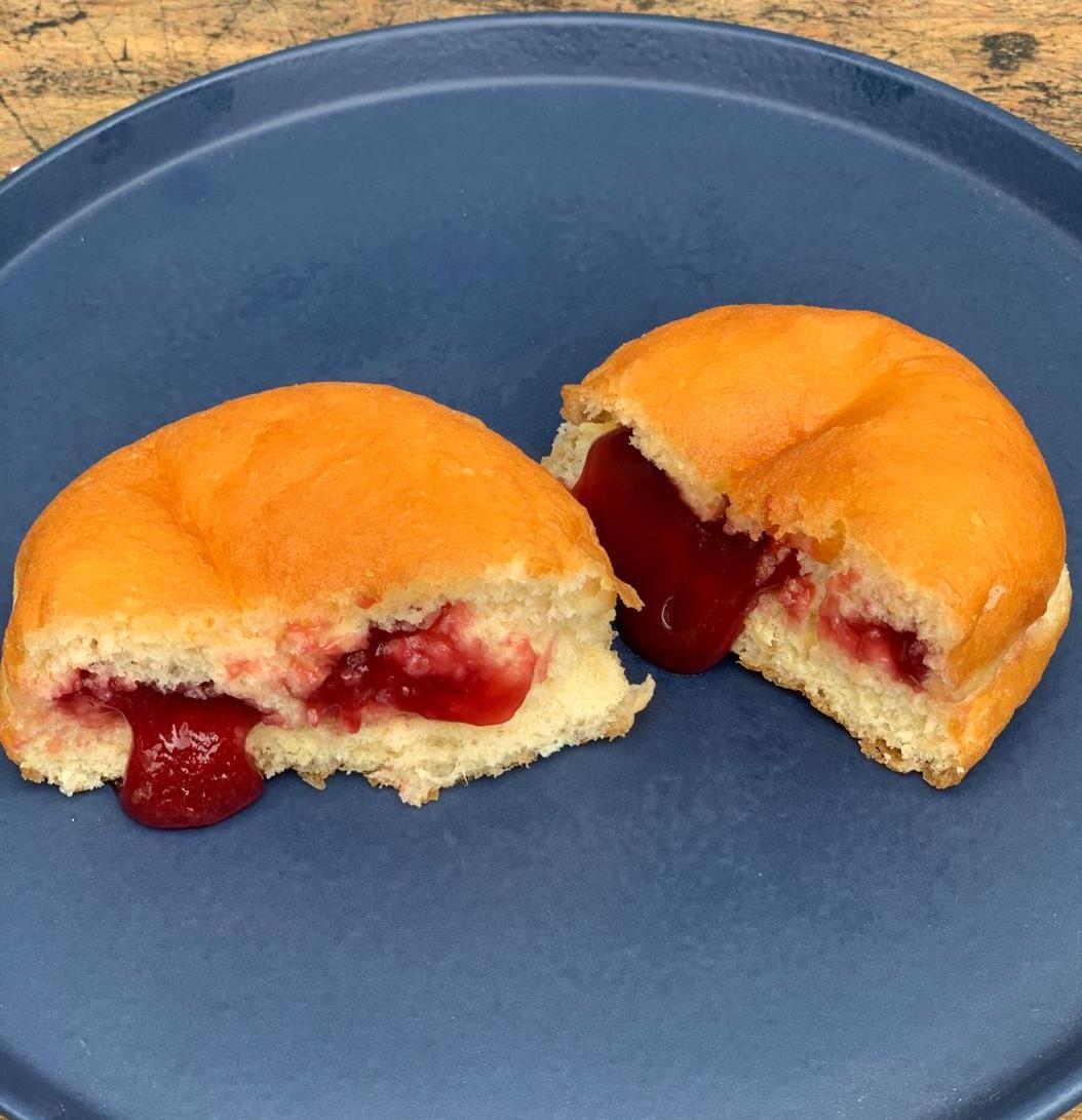 Donuts de Framboesa - massa fofinha, recheada com geleia especial de framboesa - 50 g