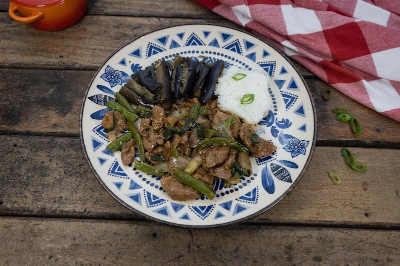 Copa Lombo de porco com molho de ostra e outros temperos importados da China, Arroz de Jasmim e Beringela Sishuan - Hunan Pork Stir Fry - 360g