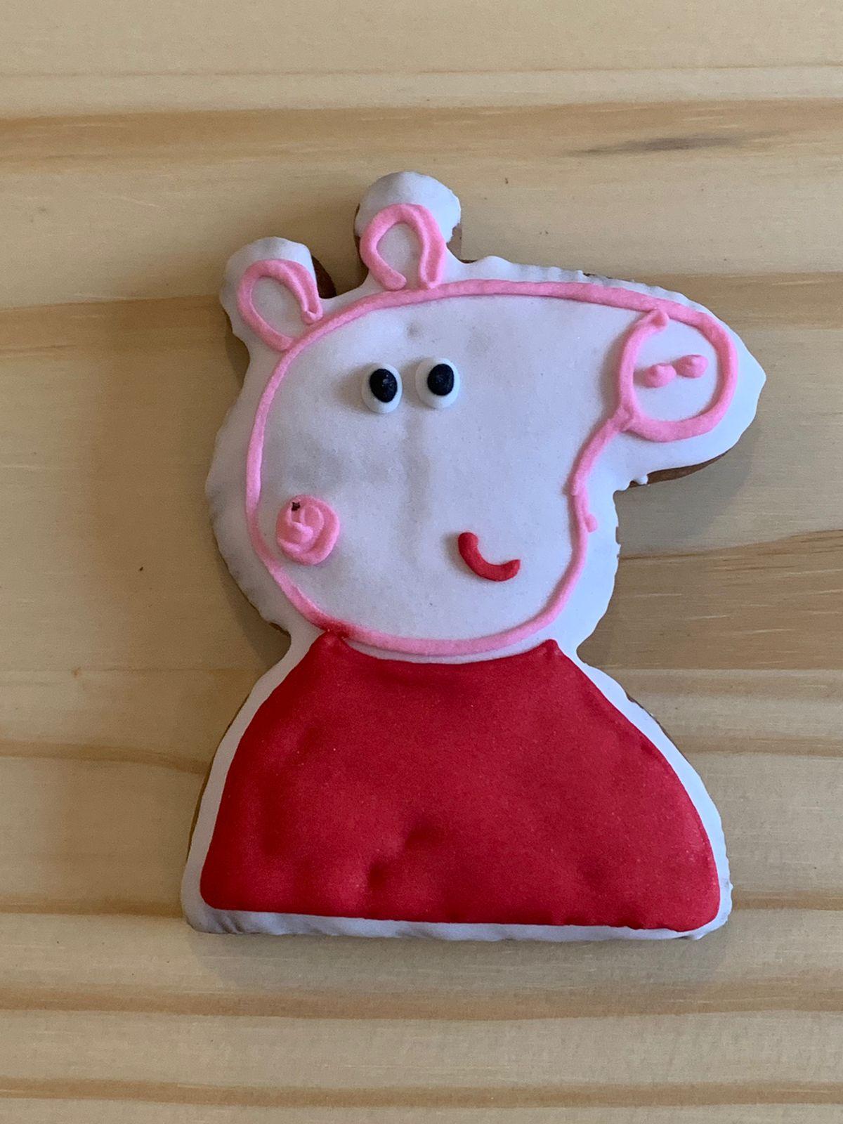 Biscoito artesanal de Mel, decorado com glacê- Personagem Peppa Pig - Unidade